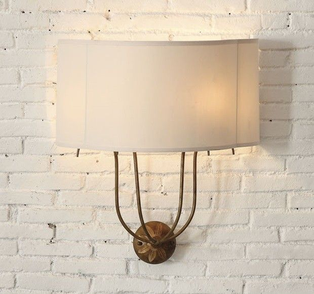 Iron Wall Sconce With Fabric Shade