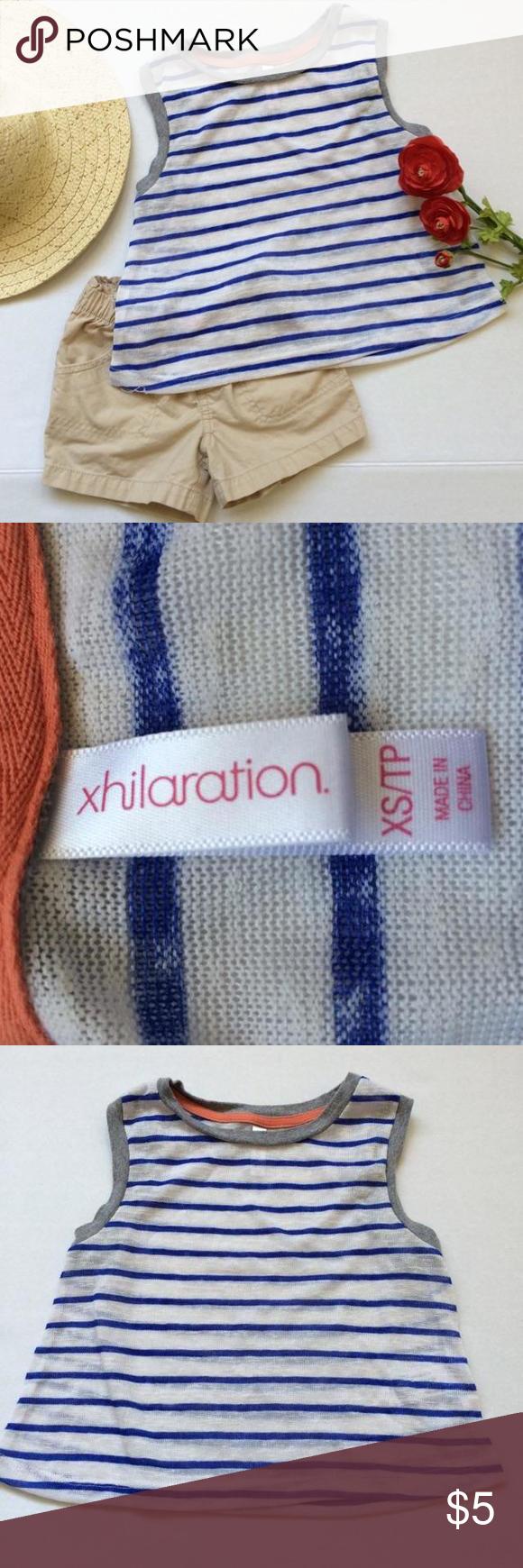 Xhilaration Thin white knit tank with blue stripes    pairs perfectly with khaki shorts NOT included Xhilaration Dresses