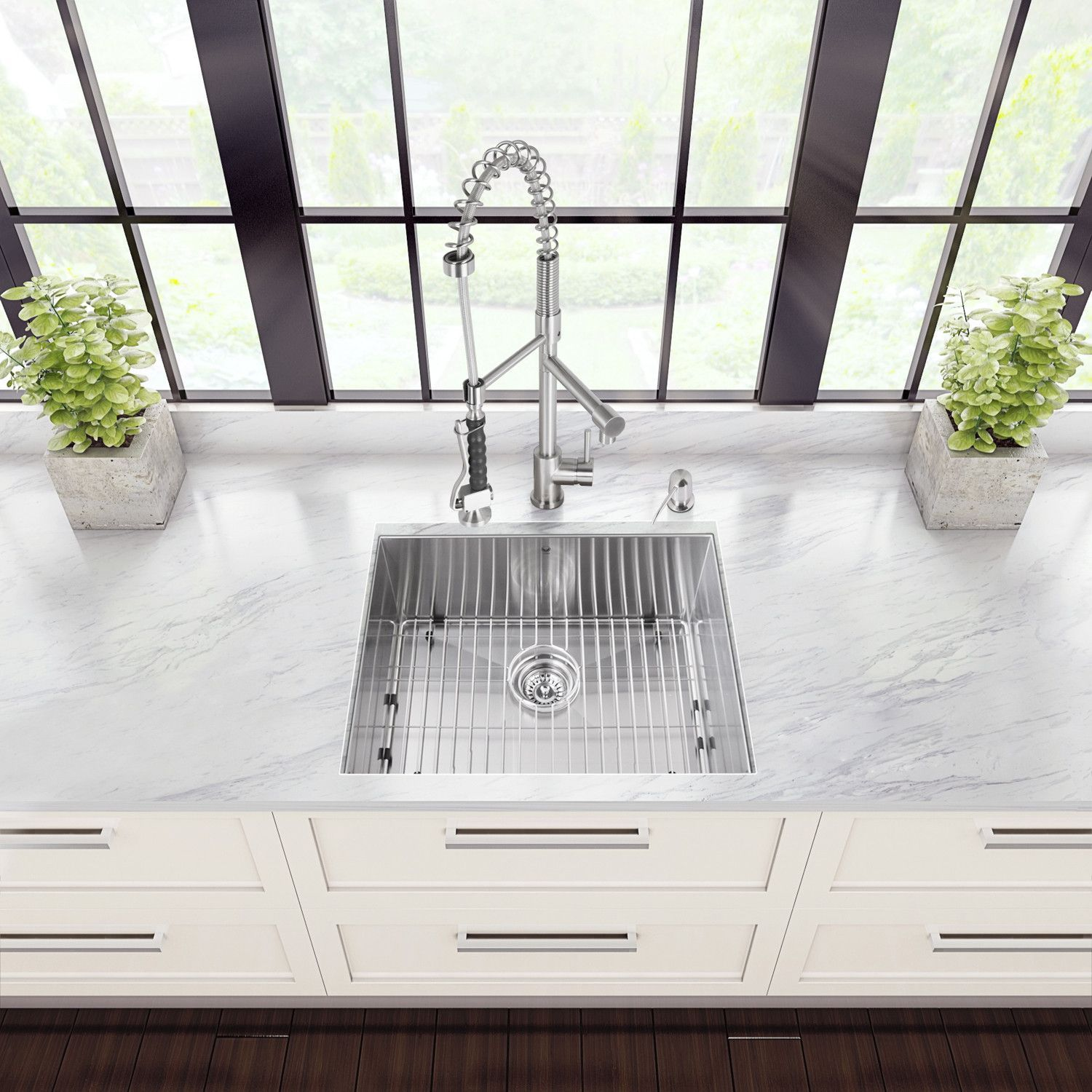 All-in-One 23-inch Stainless Steel Undermount Kitchen Sink and ...