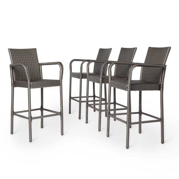 Delfina Outdoor Wicker Barstool (Set of 4) by Christopher Knight ...