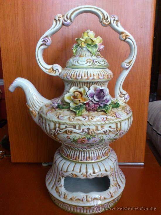 Impresionante cafetera o tetera antigua en porcelana for Porcelana italiana