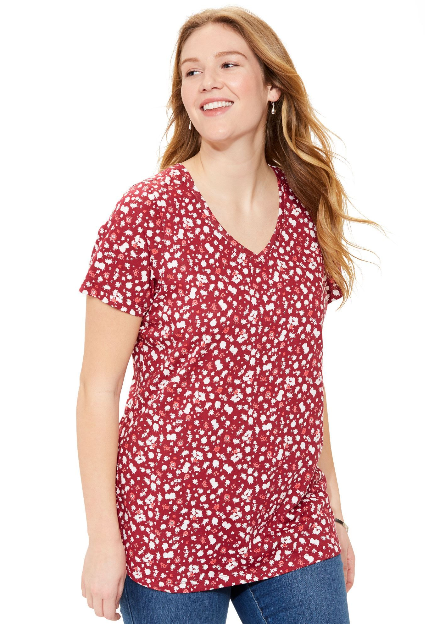 96250a94082 Perfect printed V-neck top - Women s Plus Size Clothing