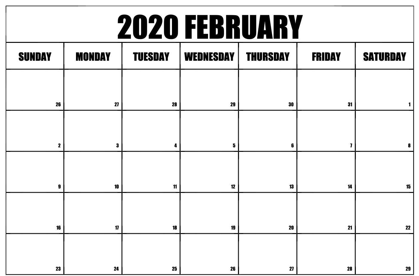 February 2020 Calendar Pdf Word Excel Printable Template