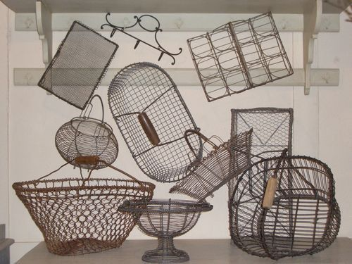 Decorating With Wire Egg Basket And Vintage Kitchen Utensils