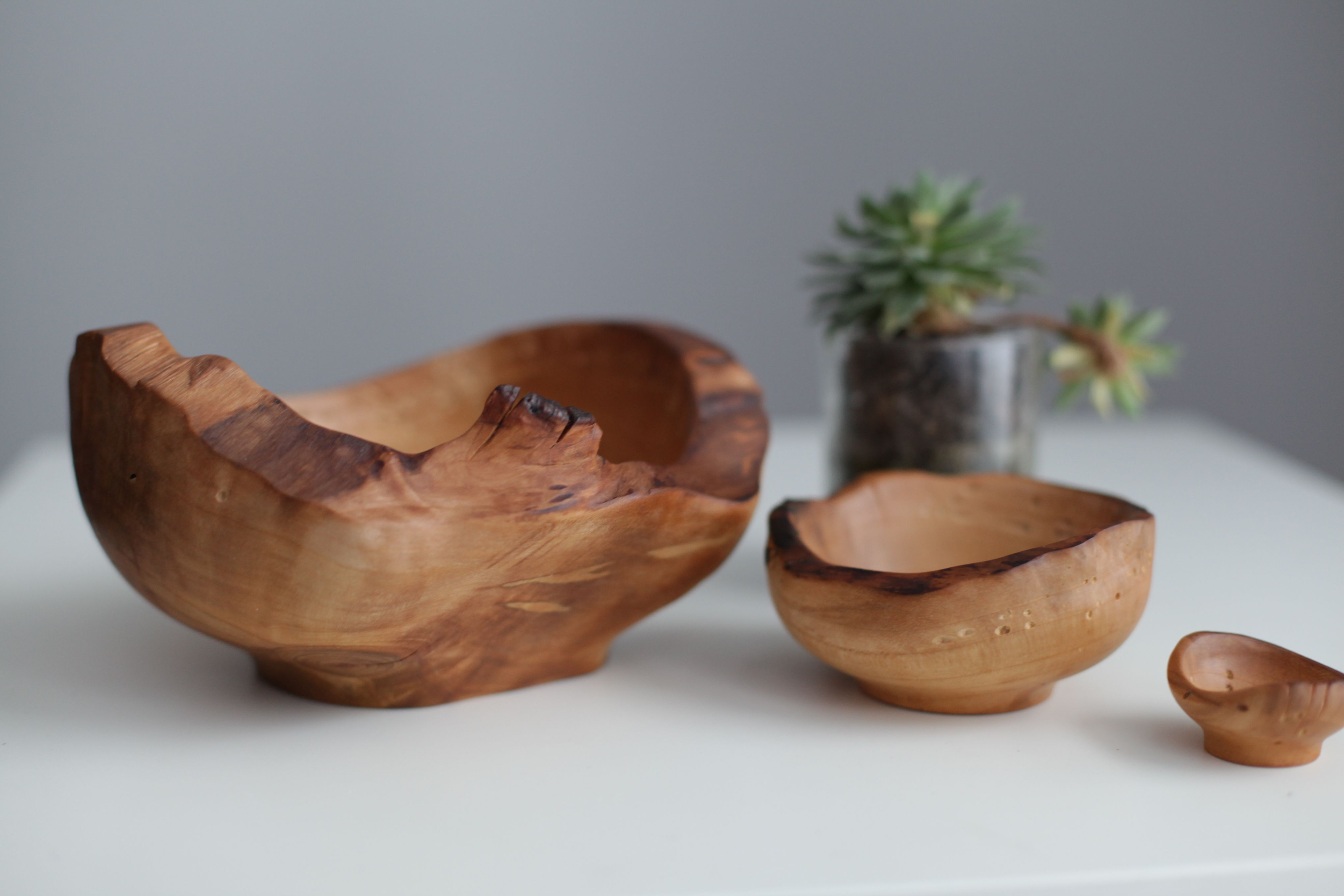 Cherry wooden bowls set valentines day gift unique decorative bowls rustic home decor hand turned bowl