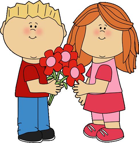 Kids With Valentine S Day Flowers Illustrations Kids Clip Art Valentines