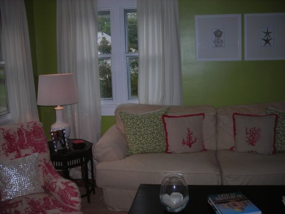 Lime green living room w white trim and curtains for - Lime green curtains for living room ...