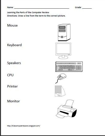 Printables Parts Of A Computer Worksheet 1000 images about computer worksheets and ideas on pinterest technology keyboard kids computer