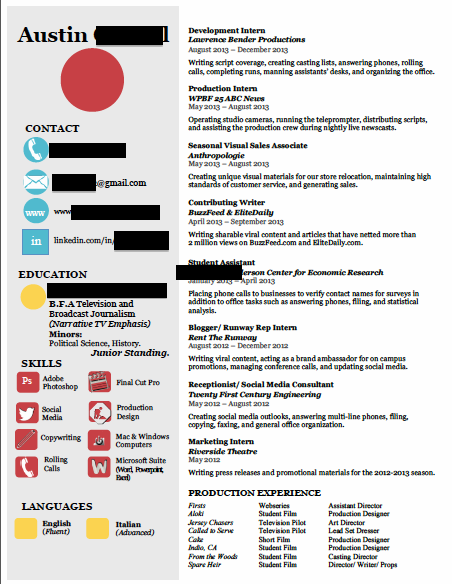 Craft the Perfect Resume ~ Hollywood Intern Diaries