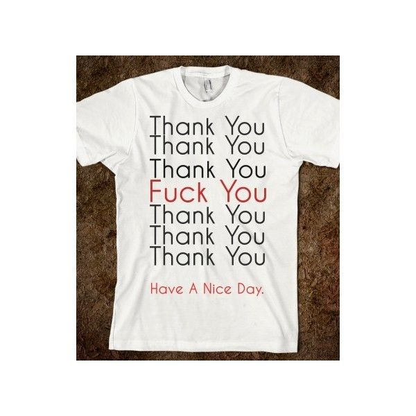 Thank You f you shirt ❤ liked on Polyvore