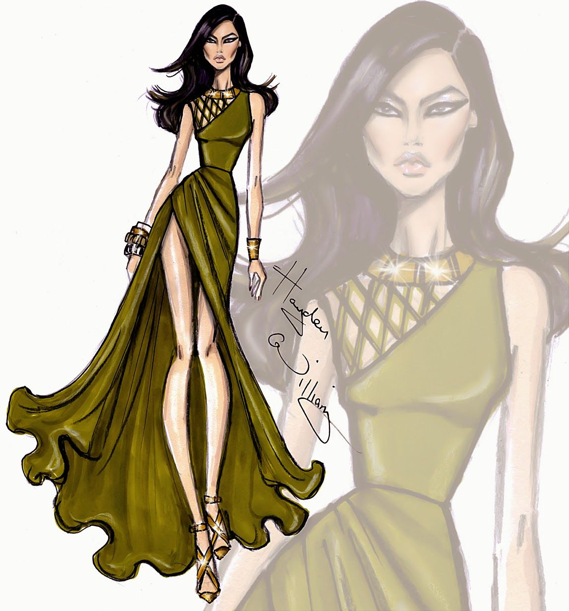 Hayden williams fashion sketches of dresses