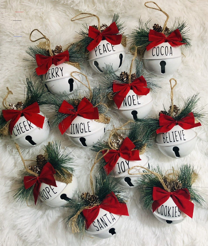 Jingle Bell Sleigh Bell Joy Peace Santa Christmas Ornament ...