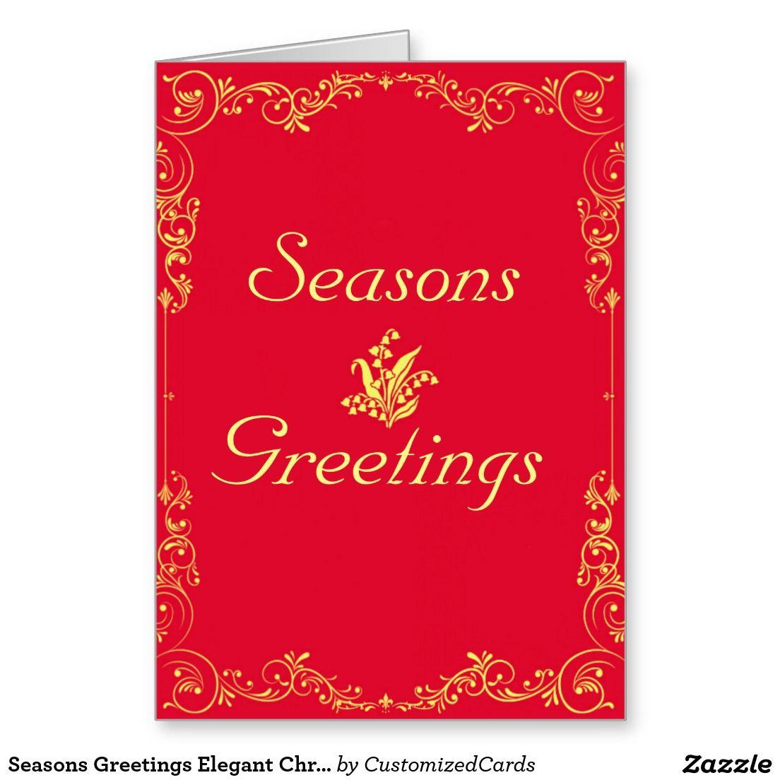 Seasons Greetings Elegant Christmas Red And Yellow Holiday Card