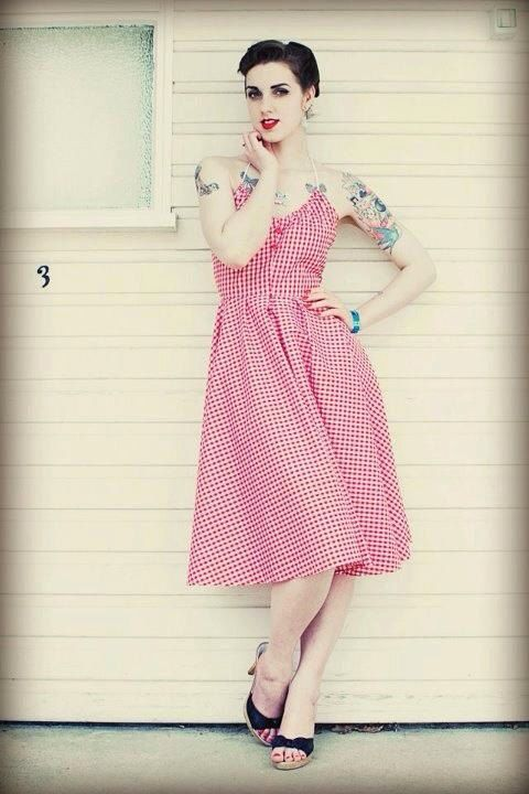 1950s vintage inspired repro red check full sweep by OuterLimitz, £66.00