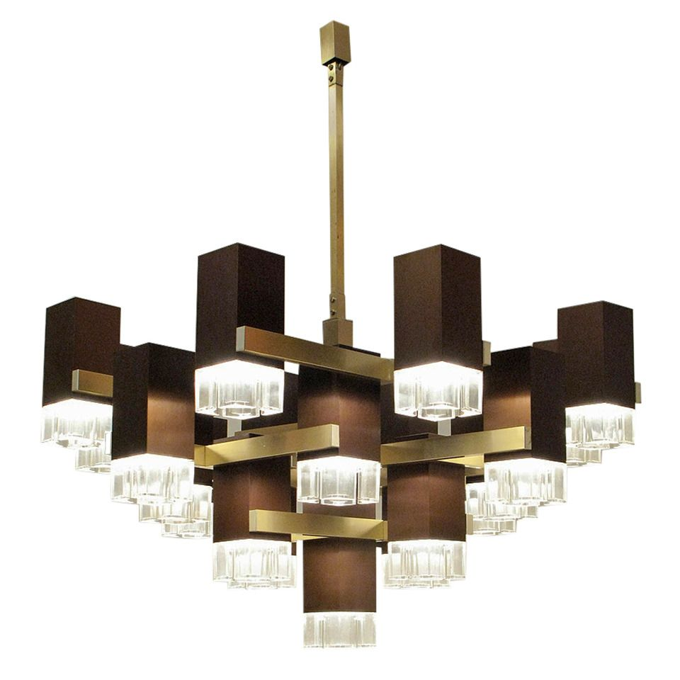 Huge Cubic Chandelier In Bronze By Gaetano Sciolari | From A Unique  Collection Of Antique And Modern Chandeliers And Pendants At ...
