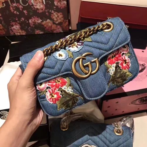 e6bd04491e90e5 Gucci GG Marmont Matelassé Embroidery Denim Shoulder bag Japan Limited  Edition 〔GGマーモント〕 日本限定 デニム ミニバッグ
