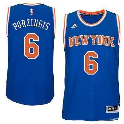 New York Knicks Jersey Kristaps Porzingis  6 Adidas Mens Swingman NBA Blue c7edfee36