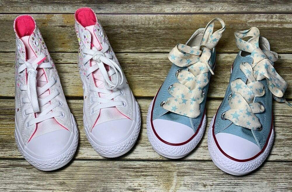 c27ffe8a057 Details about 2 Pair Lot Converse Kids Sneakers Both Size 3 Junior ...