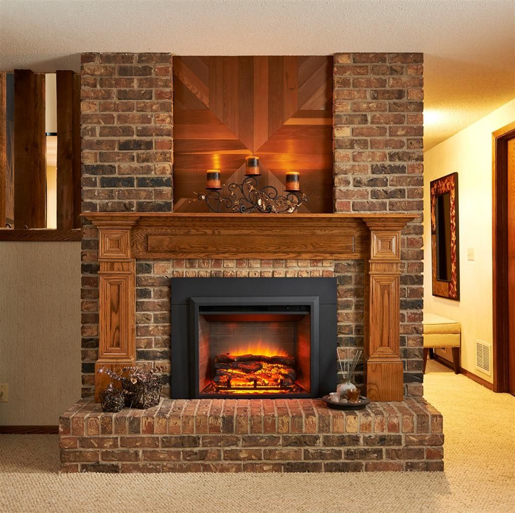 fireplace fireplace bricks with log mantel and raised hearth