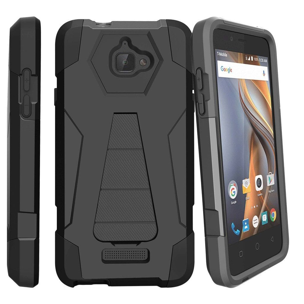 Coolpad Catalyst Case, Catalyst (T-Mobile, Metro PCS) Hard Case [SHOCK FUSION] High Impact Hybrid Dual Layer Shell Case with Built In Kickstand by Miniturtle® - Black