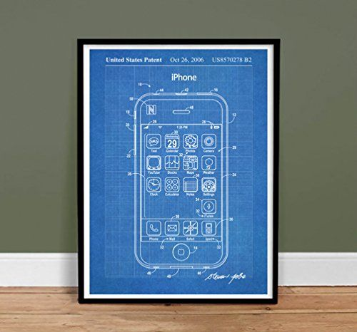 Iphone poster us patent print blueprint 18x24 poster apple iphone poster us patent print blueprint 18x24 poster apple computer steve jobs cell phone reproduction gift malvernweather Choice Image