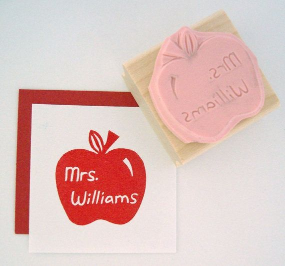 Teacher Apple Personalized Hand Carved Rubber Stamp by cupcaketree, $10.00