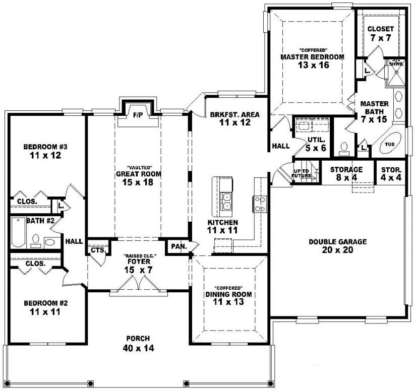 654172 One And A Half Story 3 Bedroom 2 Bath Country Style House Plan House Plans One Story House Plans Country Style House Plans