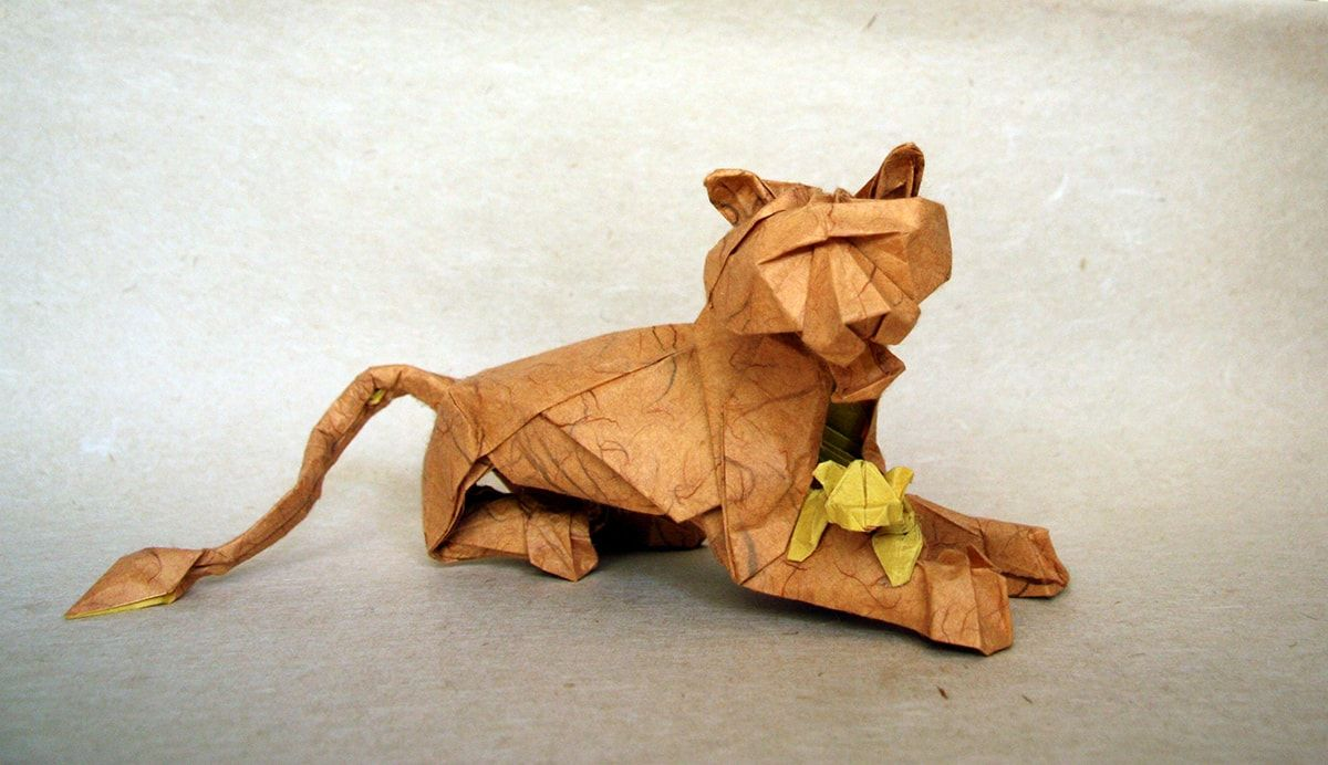 Origami lion and cub by terry nicolas origami pinterest origami cat jeuxipadfo Image collections