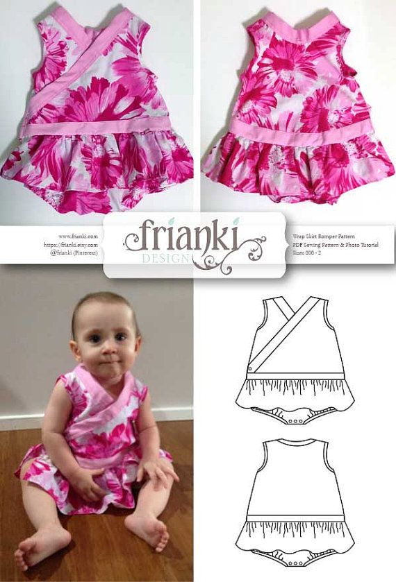 Baby Girl Wrap Skirt Romper  PDF Sewing Pattern and door Frianki