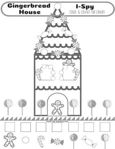 Gingerbread House I-Spy coloring sheet #ispy #worksheet
