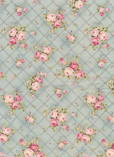 Cabbage Roses On Pale Blue Background