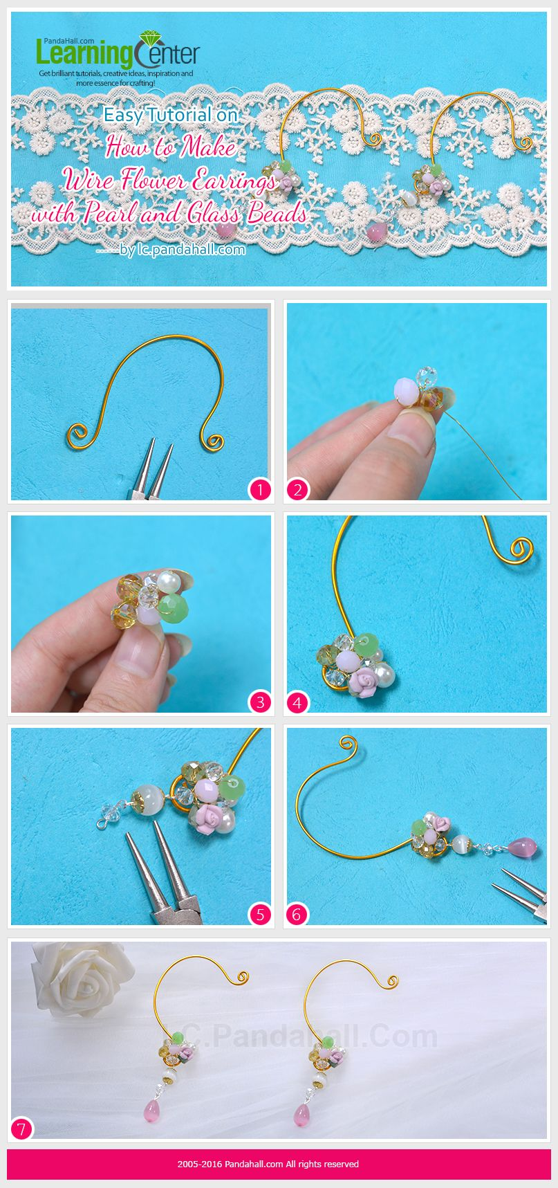 Easy Tutorial on How to Make Wire Flower Earrings with Pearl and ...