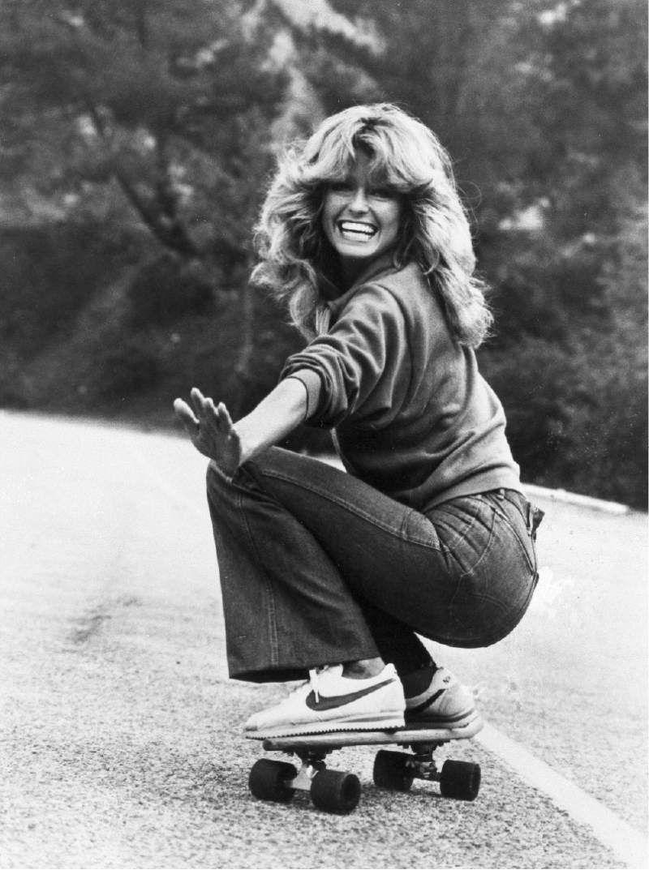 Farrah Fawcett riding a skateboard 1977
