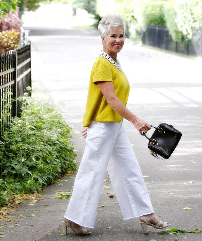 Over 40 And Fabulous In Wide Leg Pants Chic Over 50 Fashion 50 Fashion