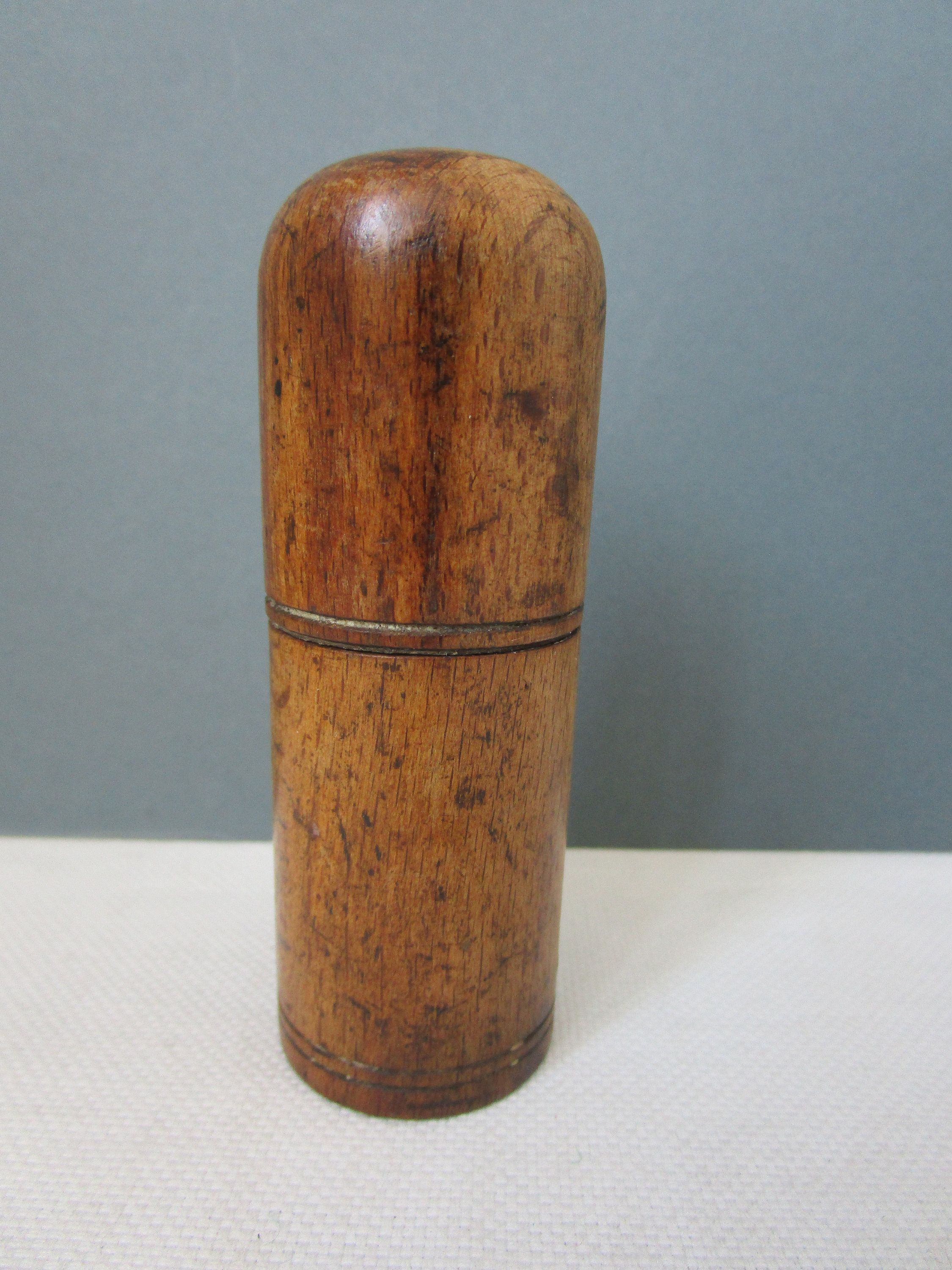 Antique treen container screw top turned wood cylindrical