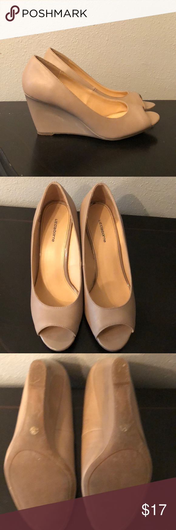 b85e4b6b15c0 Liz Claiborne Paula peep toe wedges Peep toes are so great because they  aren t