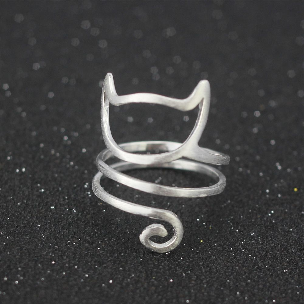 Freies verschiffen 925 sterling silber r drahtwicklung nette katze verstellbaren ring black Friday