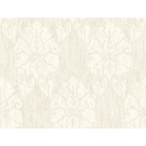 Wallpaper Designer Eggshell White Damask on Beige