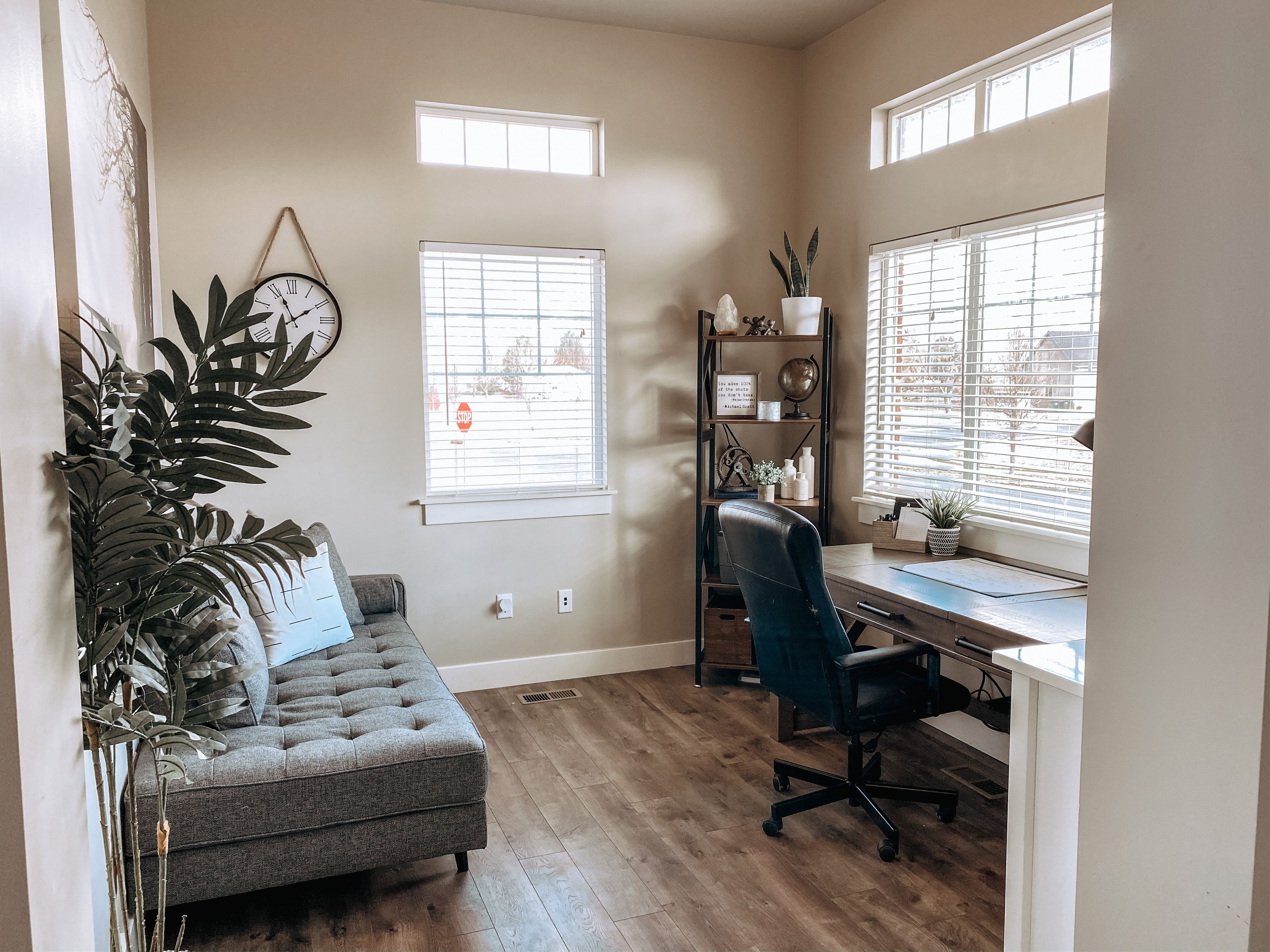 Before after of this masculine home office makeover in
