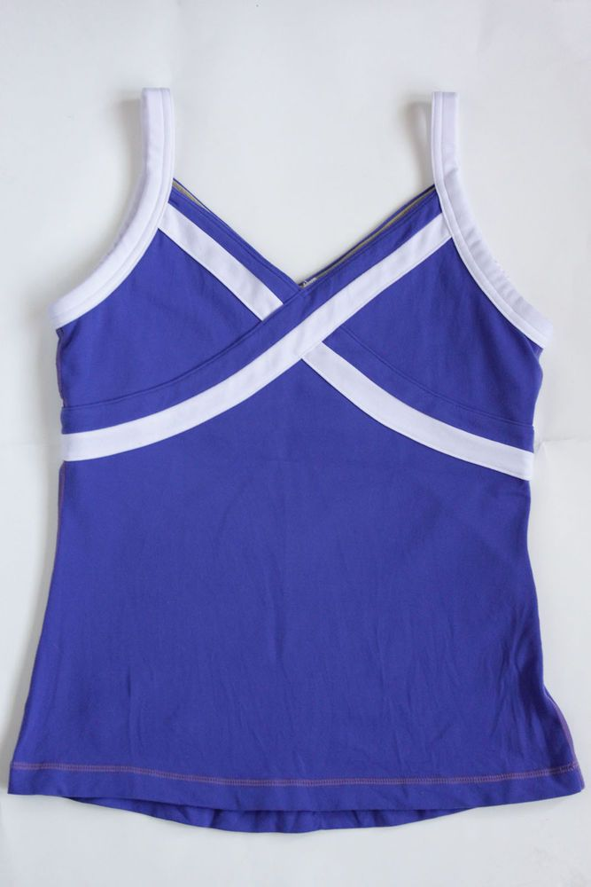 2490738b72ae3 Lululemon Size 8 Blue White Striped V Neck Tank Top Shelf Bra Yoga   Lululemon  ShirtsTops