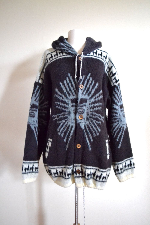 Vintag Wool Tribal Sweater, Oversized Ecuadorian Hoodie Hippie ...