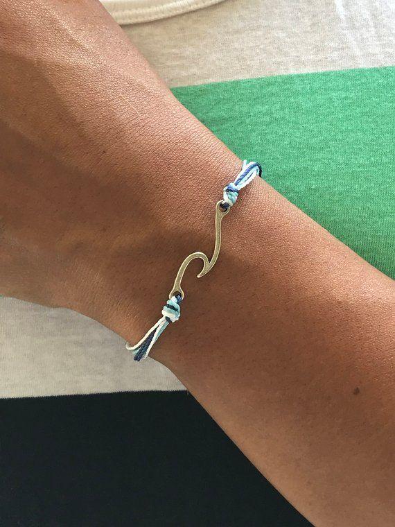 wave bracelet adjustable bracelet wave bangle surfer bracelet Handmade Sterling silver Wave bracelet