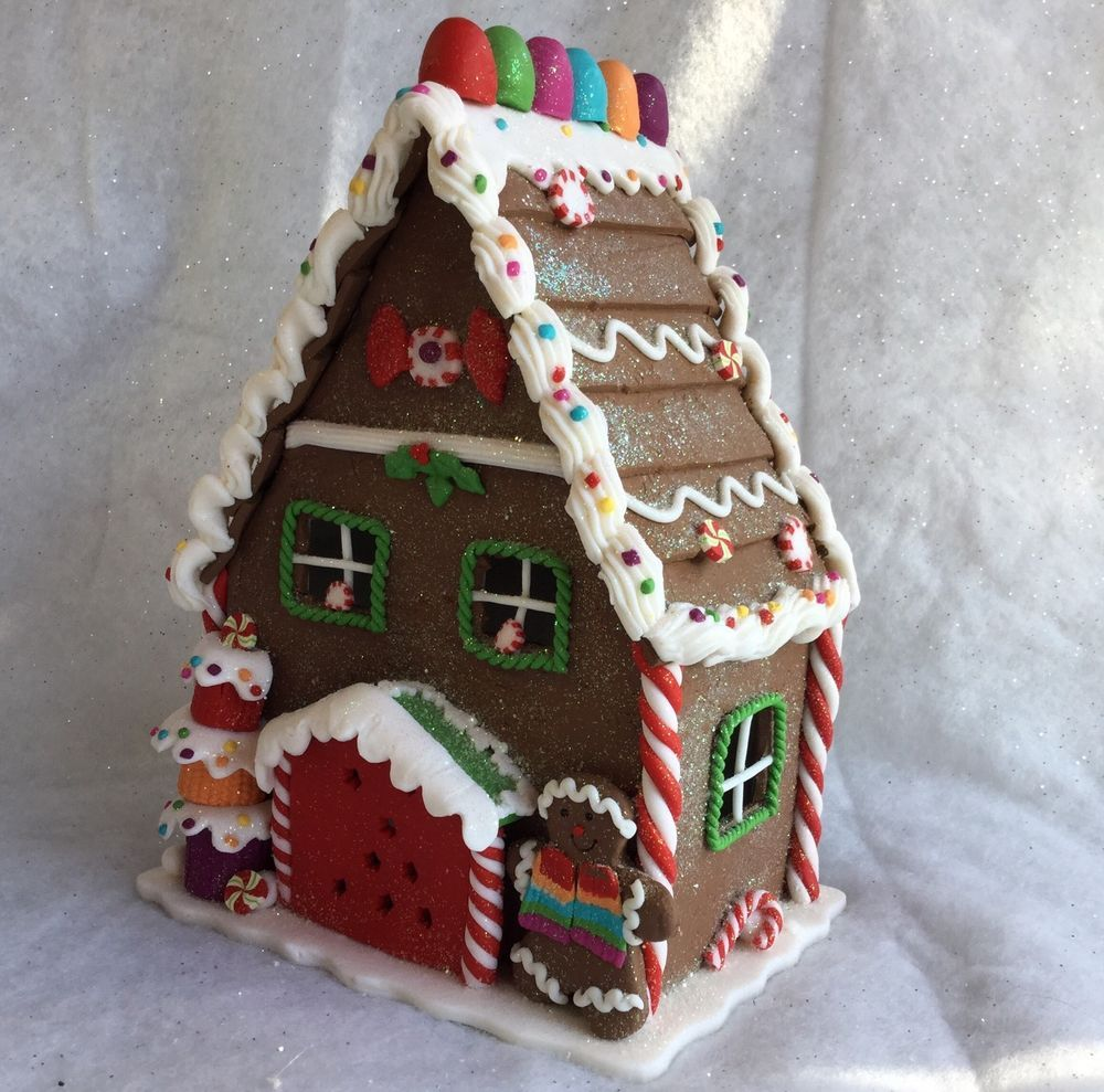 Poly Dough Light up Gingerbread House Christmas Decoration ...