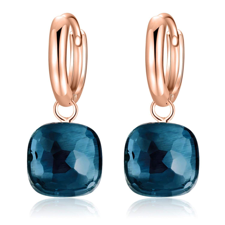 925 Sterling argent boucles d'oreille topaze bleue Gemme boucle d'oreille bijoux