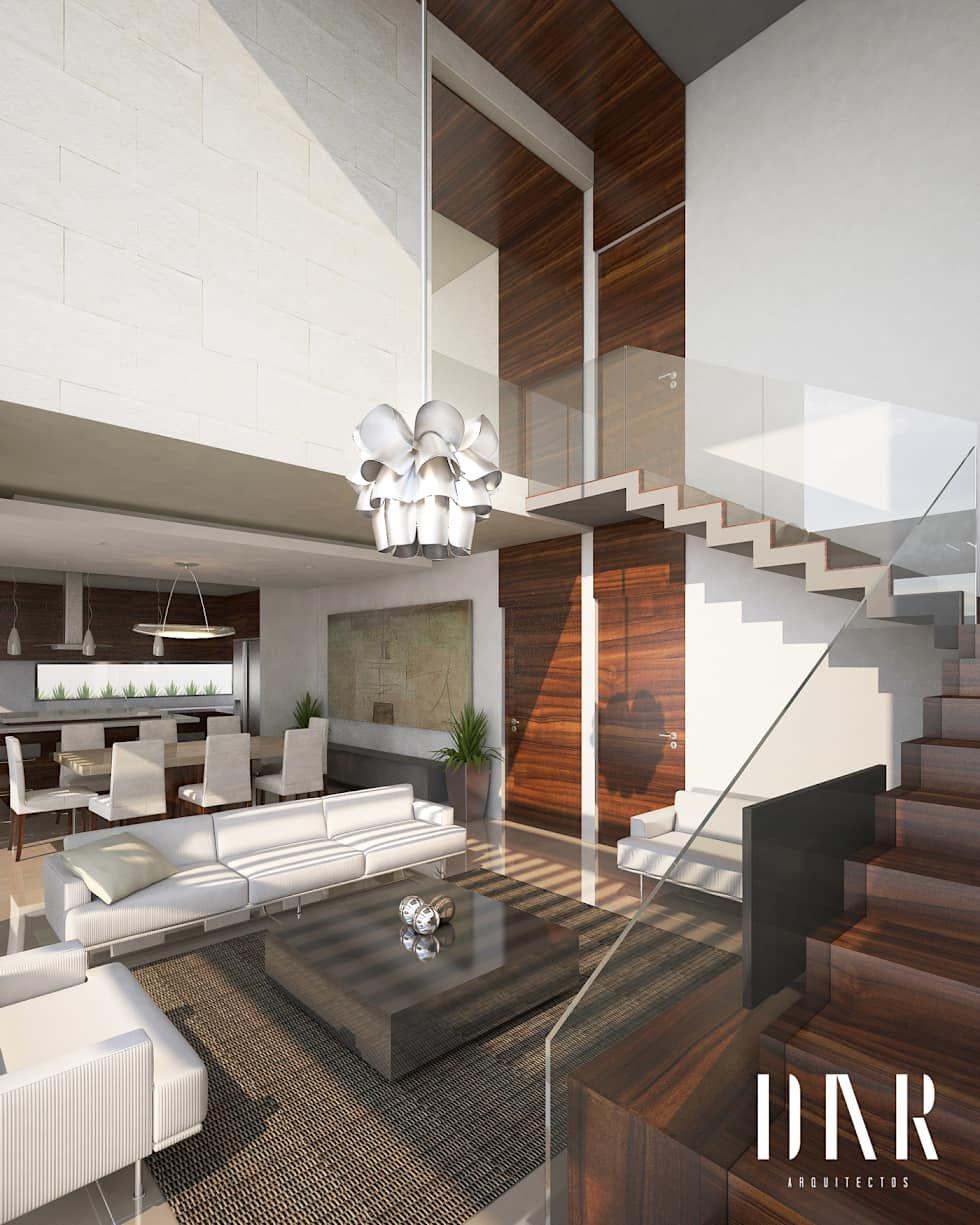 Perspectiva interior salas de estilo por dar arquitectos for Casas minimalistas modernas interiores