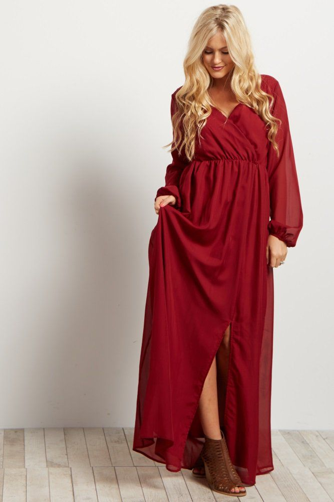 0f0374bb80c4 Burgundy Solid Chiffon Long Sleeve V-neck Maxi Dress   What to Wear ...