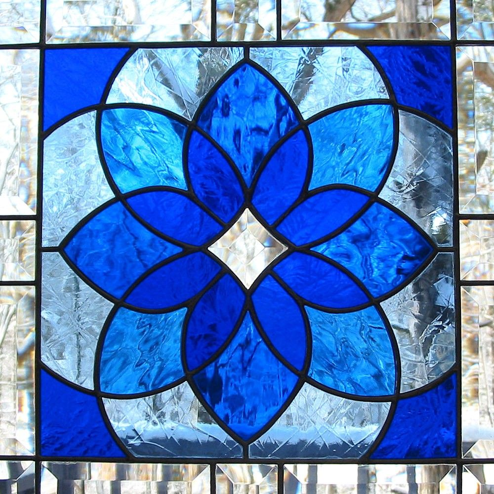 Cobalt blue window treatments - Cobalt Blue Stained Glass Window Panel With Bevels