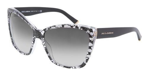 88b790bd3d Dolce & Gabbana Eyewear: modelo 4111M - Colección de gafas de sol de mujer.  Montura frontal tipo ojos de gato con encaje negro, varillas negras y  lentes ...