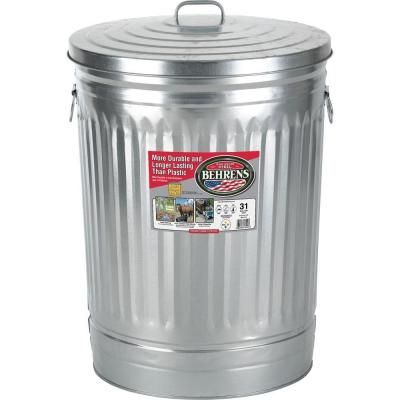 Behrens 31 Gal Galvanized Steel Round Trash Can With Lid 1270 Pet Food Storage Garbage Can Galvanized Steel
