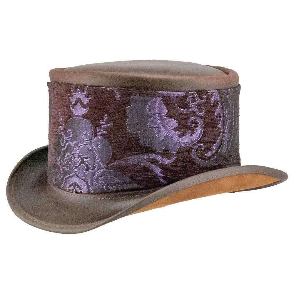 Modestone Straw Cowboy Hat Leather-Like Appliques Purple